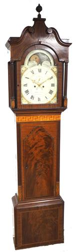 19th Century English Longcase Clock in Mahogany Painted Moon Roller Dial 8-Day Signed Martin Clayton (1 of 5)