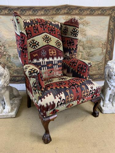 Kilim Covered Wingback Armchair on Ball & Claw Feet (1 of 9)