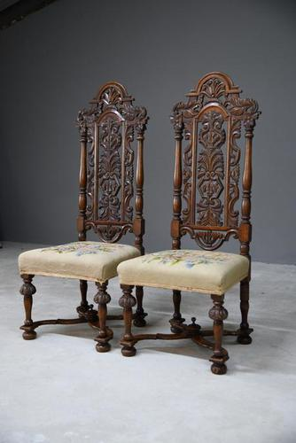 Pair William & Mary Style Chairs (1 of 12)