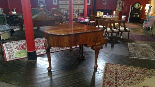 Elegant English Eavestaff Queen Anne Style Grained Walnut Grand Piano with Matching Duet Piano Stool (1 of 8)