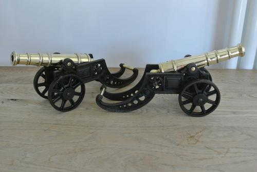 """Fine Pair of Early 20th Century 18"""" Brass & Cast Iron Toy Cannons Hall Cannons (1 of 11)"""