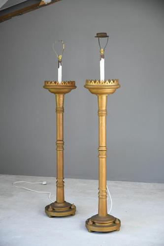 Pair of Large Gold Standard Lamps (1 of 7)
