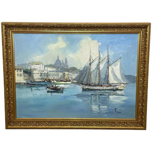 Dutch Oil Painting Fishing Harbour Channel Coast Signed Bernhard Laarhoven (1 of 34)