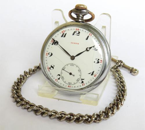 Antique Zenith pocket watch and chain (1 of 4)
