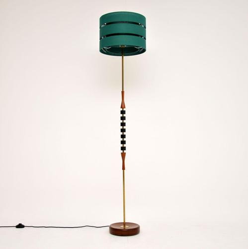 Danish Vintage Teak & Brass Floor Lamp (1 of 8)