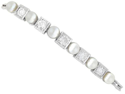 1.38ct Diamond & Cultured Pearl, 15ct White Gold Bracelet c.1930 (1 of 12)