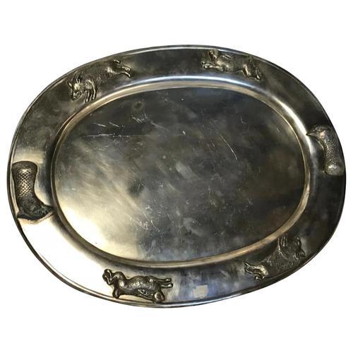 Large Danish Sporting Victorian 19th Century Danish Silver Plate Salver (1 of 31)