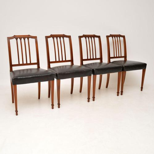 Set of 4 Antique Mahogany & Leather Dining Chairs (1 of 11)