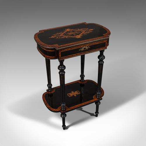 Antique Napoleon III Side Table, French, Etagere, Burr Walnut, Sewing c.1870 (1 of 12)