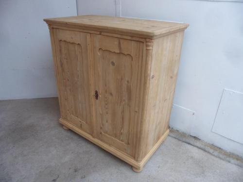 Georgian 2 Door 2 Drawer Antique Pine Kitchen / Storage Cupboard to wax / paint (1 of 12)
