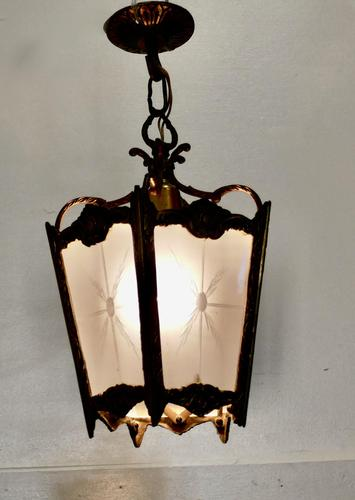 French Brass & Etched Glass Lantern Hall Light (1 of 6)