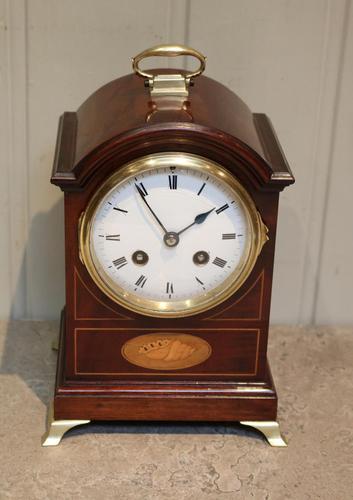 Small Mahogany & Inlay Mantel Clock (1 of 12)