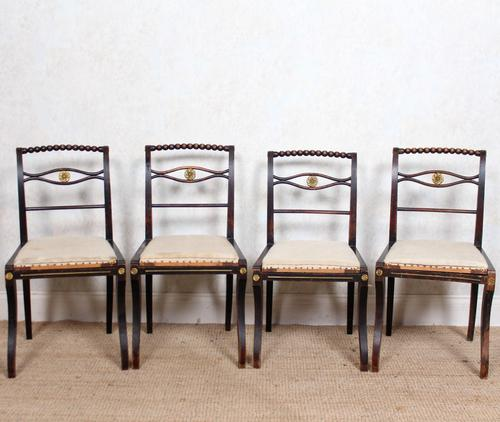 4 Regency Ebonised Dining Chairs Trafalgar (1 of 12)