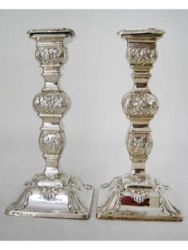 Pair of Ornate Late Victorian Silver Candlesticks (1 of 7)