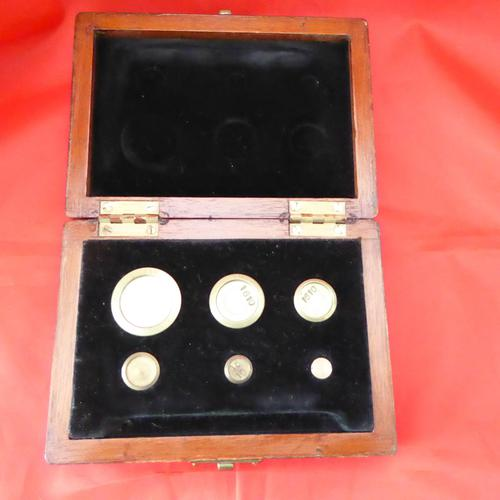 Mahogany Cased Brass Scale Weights (1 of 2)