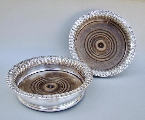 Unusual Pair of Georgian Silver Plated Wine Coasters c.1800 (1 of 4)