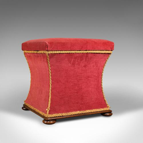 Antique Ottoman, English, Velour, Dressing, Sewing Stool, Victorian c.1890 (1 of 10)