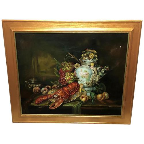 German 20th Century Oil Painting Banquet Red Lobster Serving Tray Peaches Grapes (1 of 23)