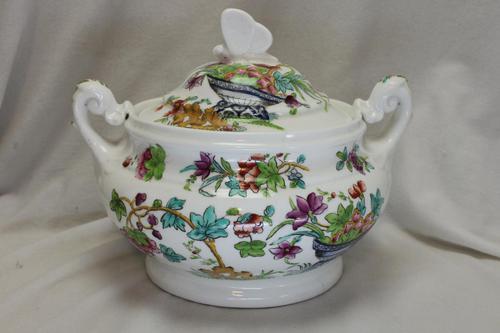 Ridgway Hand Coloured Porcelain Lidded Sugar Bowl (1 of 4)