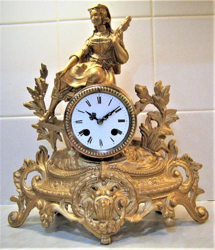 Wonderful 1890 French Spelter Striking Mantle Figurine Clock (1 of 5)
