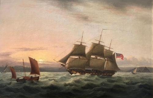A fine marine painting by Thomas Luny 1750 – 1837 'Off Plymouth' (1 of 2)