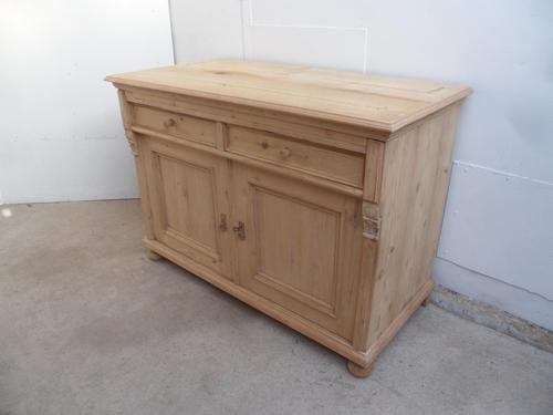 Massive Antique Pine 2 Door 2 Drawer Dresser Base / TV Stand to wax / paint (1 of 10)