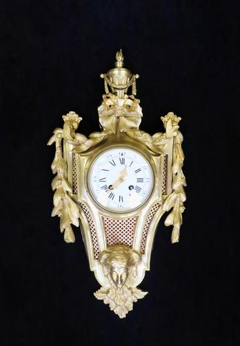 French Louis XVI Style Bronze Gilt Cartel Wall Clock (1 of 7)