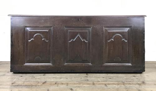 Antique 18th Century Oak Coffer with Carved Detail (1 of 12)