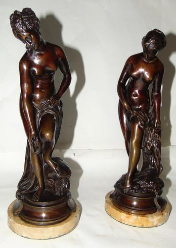 Pair of Victorian Bronzes - Diana Bathing (1 of 9)