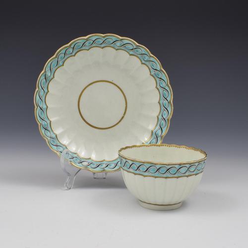 First Period Worcester Porcelain Fluted Tea Bowl & Saucer c.1770 (1 of 7)