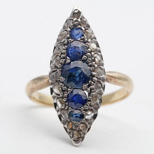 French Art Deco Sapphire & Diamond Gold Ring (1 of 2)