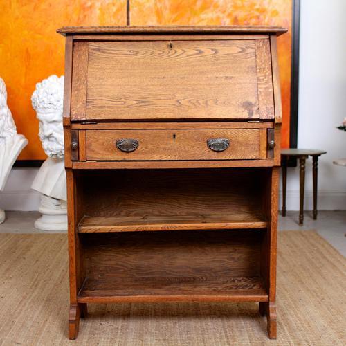 Oak Bureau Arts & Crafts Writing Desk Chest Edwardian Slim (1 of 12)