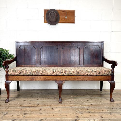 Antique George III Oak Settle Bench (1 of 10)