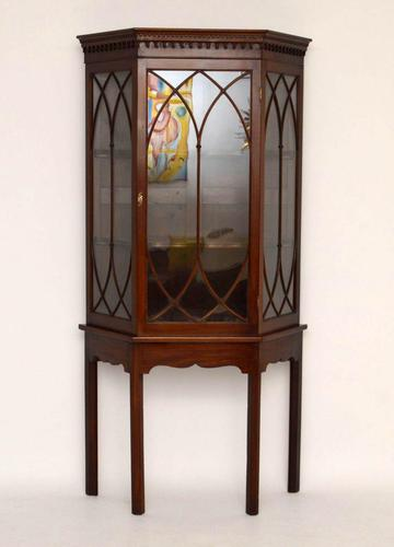 Antique Mahogany Display Cabinet on Stand (1 of 10)