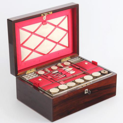 Victorian Fitted Rosewood Sewing Box with Extensive Period Contents c.1895 (1 of 12)