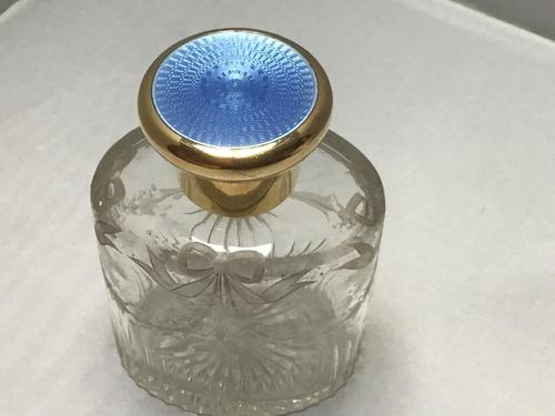 Silver Gilt and Blue Enamel Perfume Bottle (1 of 5)