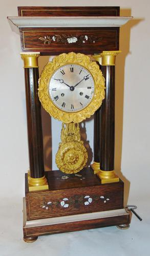 French Charles X Rosewood Portico Clock (1 of 9)