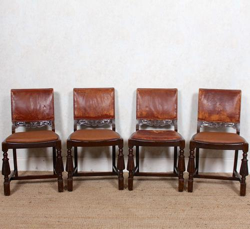 4 Carved Oak Leather Dining Chairs (1 of 12)