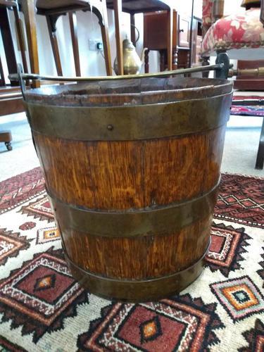 Coopered Brass Bound Peat Bucket (1 of 5)