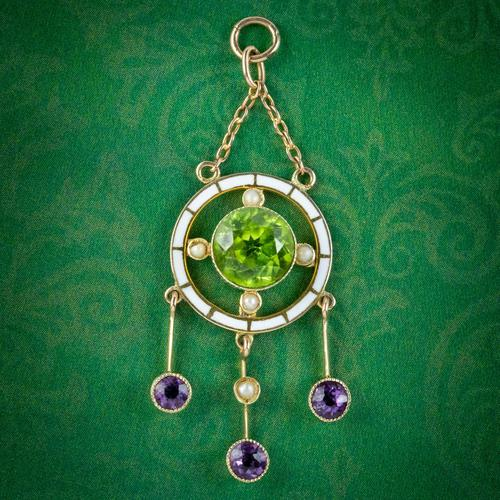 Antique Edwardian Suffragette Pendant 9ct Gold Amethyst Peridot Pearl c.1910 (1 of 6)