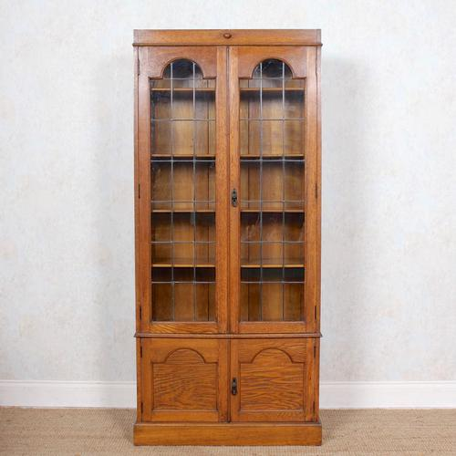 Oak Leaded Glazed Bookcase Arts & Crafts (1 of 10)