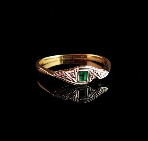 Art Deco Emerald Ring, 18ct Gold & Platinum (1 of 10)