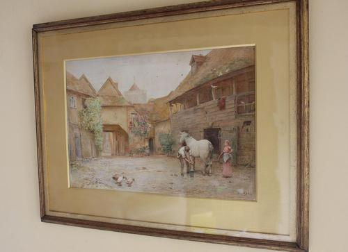 Antique Original 19th Century Watercolour - Groom with Horse - 1894 - poss. J F Pasmore 1820-1881 (1 of 6)