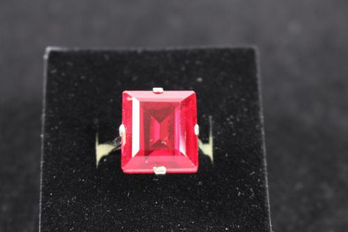 Gold mounted synthetic ruby ring (1 of 4)