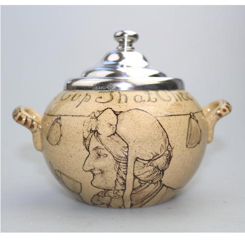 Attractive & Good Royal Doulton Stoneware Motto Ware Lidded Bowl - Tea c.1915 (1 of 8)
