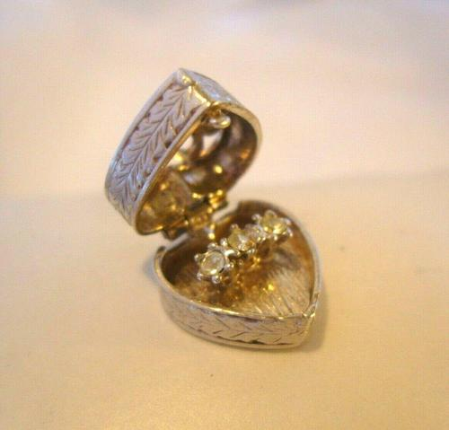 Vintage Silver Engagement Ring Heart Opening Charm 1960s For Ladies Bracelet (1 of 11)
