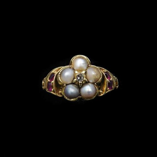 Antique Pearl Ruby & Diamond Cluster 18ct Gold Ring (1 of 9)