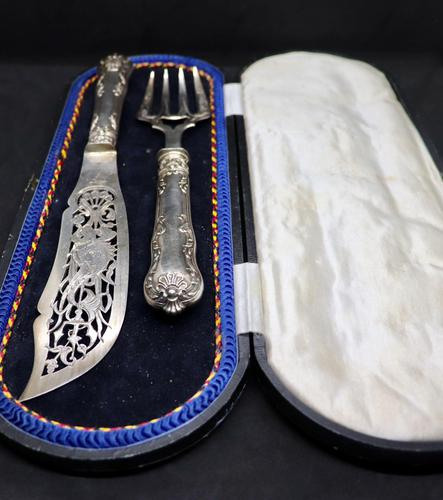 19 Century French Silver Fish Serving Cutlery (1 of 8)