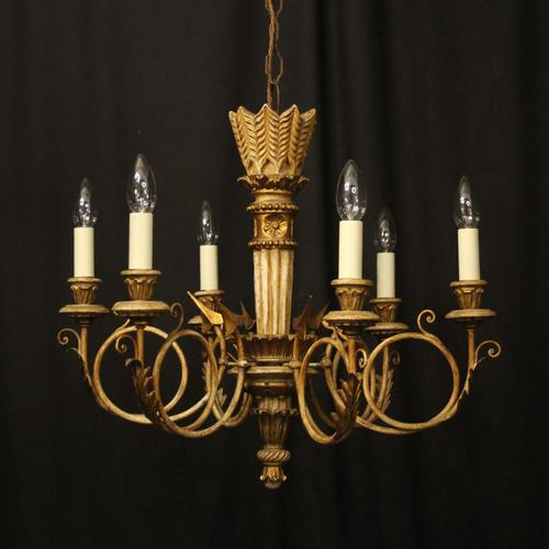 French Giltwood Polychrome 6 Light Chandelier (1 of 10)