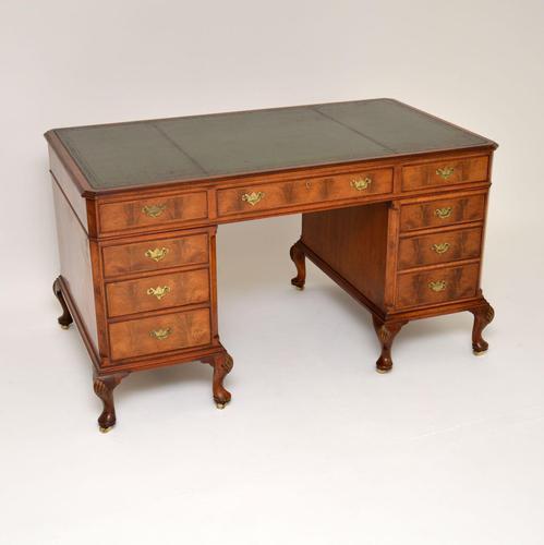 Large Antique Walnut Leather Top Pedestal Desk (1 of 12)